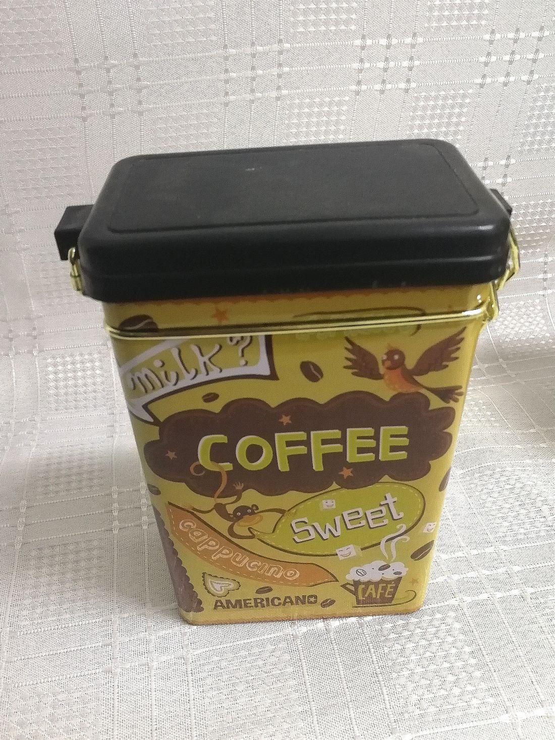 Fém Kávés doboz négyszögletű csatos