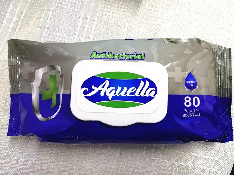 Aquella Antibacterial nedves törlőkendő 80db