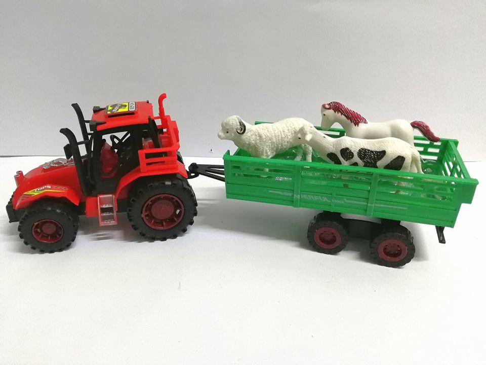 Traktor pótkocsival állatos